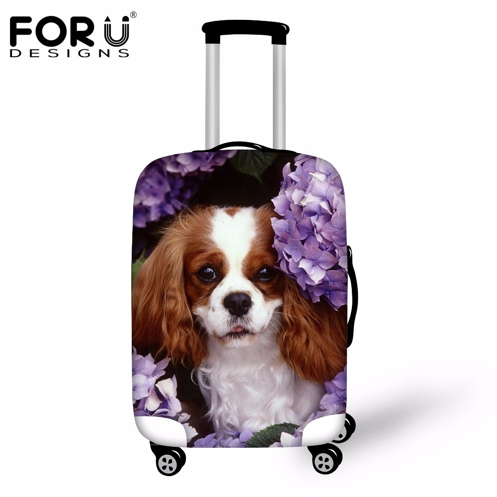FORUDESIGNS Waterproof Travel Luggage Suitcase Protective Cover Cute 3D Charles Dog Women Trolley Case Cover For 18-30 Inch Case