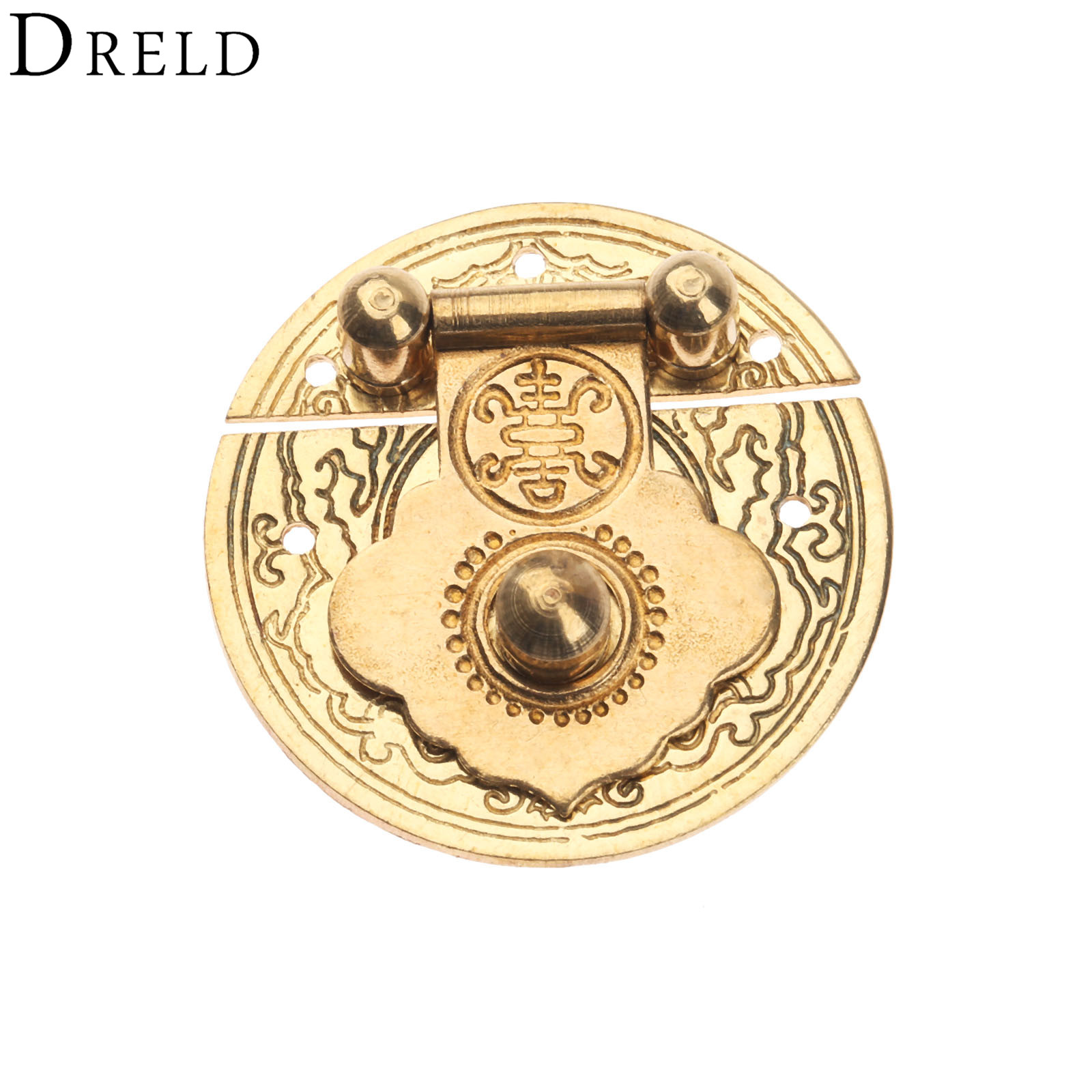 DRELD Antique Box Hasp Latches Chinese Brass Lock Catch for Jewelry Box Suitcase Buckle Clip Clasp Furniture Hardware 36mm