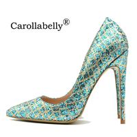 2019 New Pointed Toe Shoes Women Blue Gold Grid Bling Thin High Heels 8cm/10cm/12cm Genuine leather Shallow Party Pumps 34 45