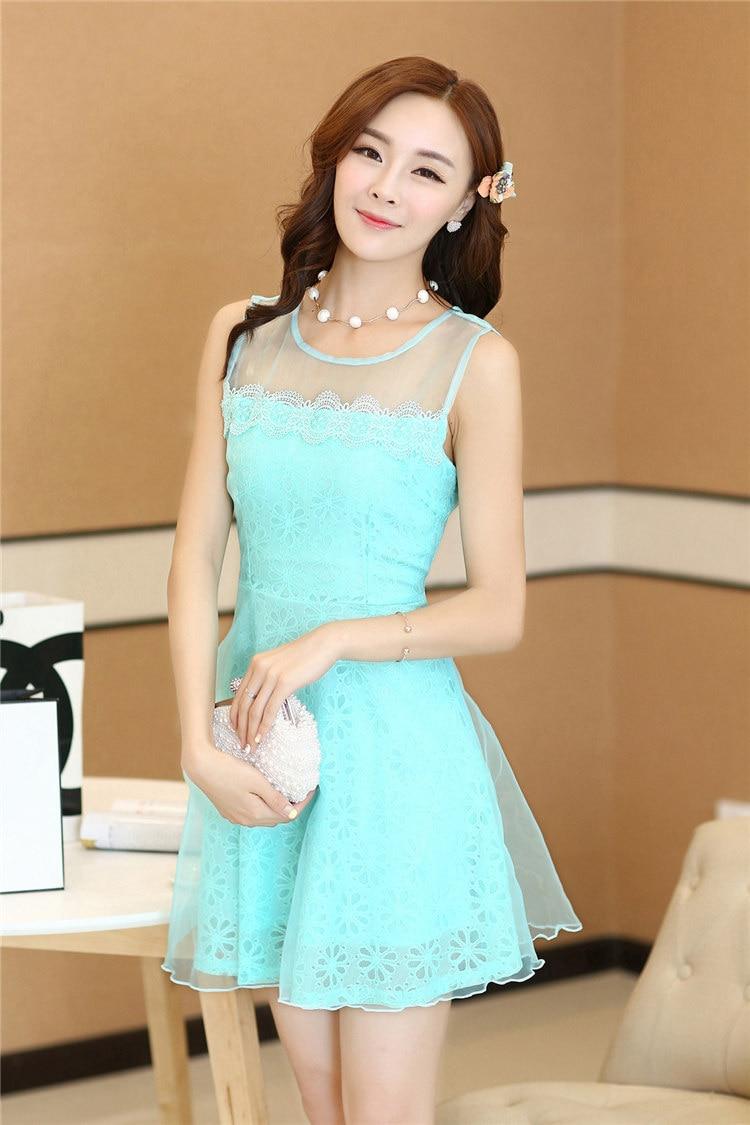 summer Style Korean wave of fairy princess dress Slim sleeveless ...
