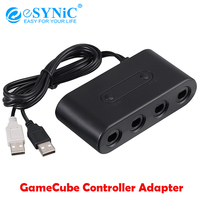 eSYNiC Gamecube Controller Adapter With 6ft Long Replacement Extension Cable For Wii U,PC USB,Nintendo Switch GameCube Adapter