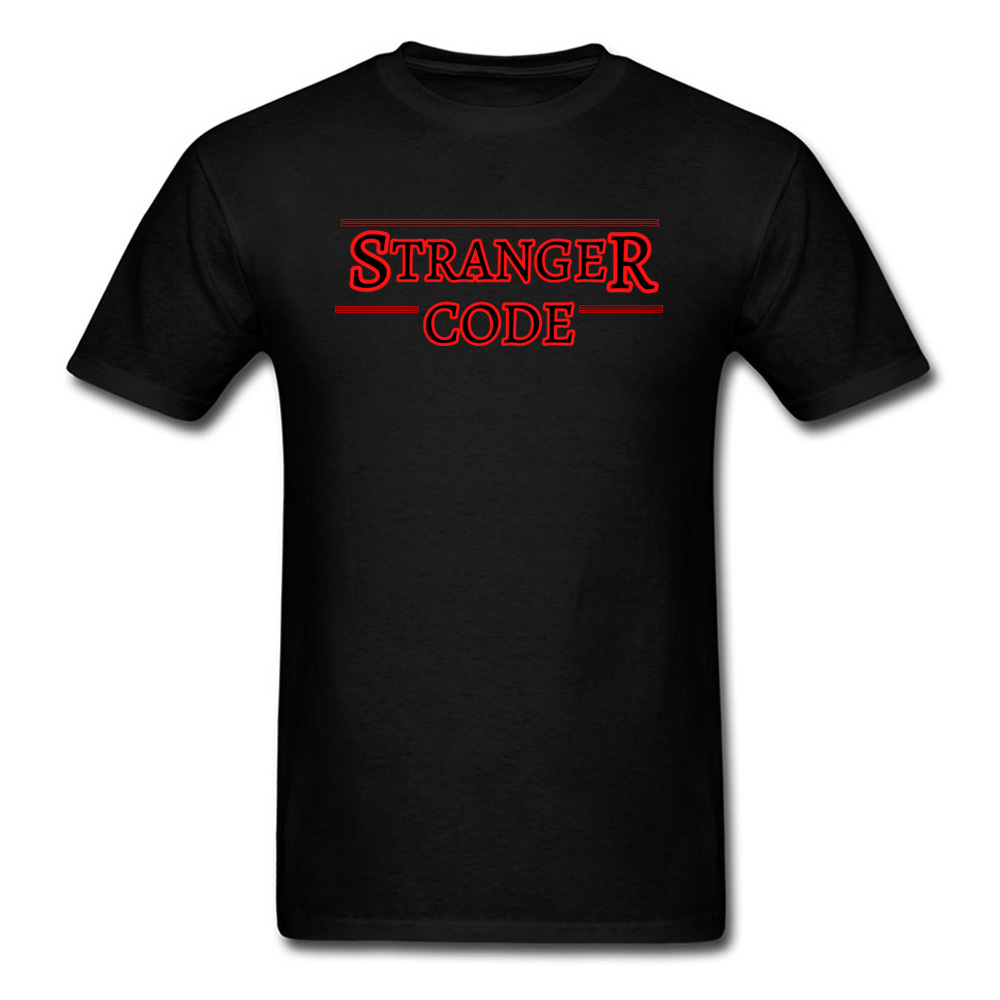 Stranger Things T Shirt Hawkins Stranger Code Red Word Graphic New Mens Tshirt Short Sleeve Summer Cotton Tops & Tees Men