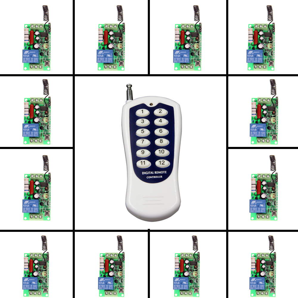 AC 220V 110V 1 CH 1CH RF Wireless Remote Control Switch System,12CH Transmitter + 12 X Receiver,Toggle/Momentary,315/433.92 315 433mhz 12v 2ch remote control light on off switch 3transmitter 1receiver momentary toggle latched with relay indicator