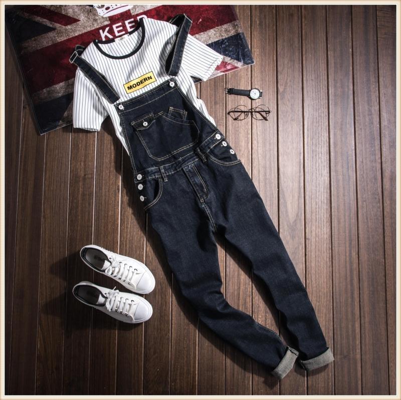 Mens Fashion Black Slim Bib Denim Overalls Jeans For Men Plus Size Male One Piece Denim Jumpsuit Long S-XXL XXXL male suspenders jeans mens slim straight denim overalls men s ripped jeans casual hole blue bib jumpsuit plus size xxl 71306