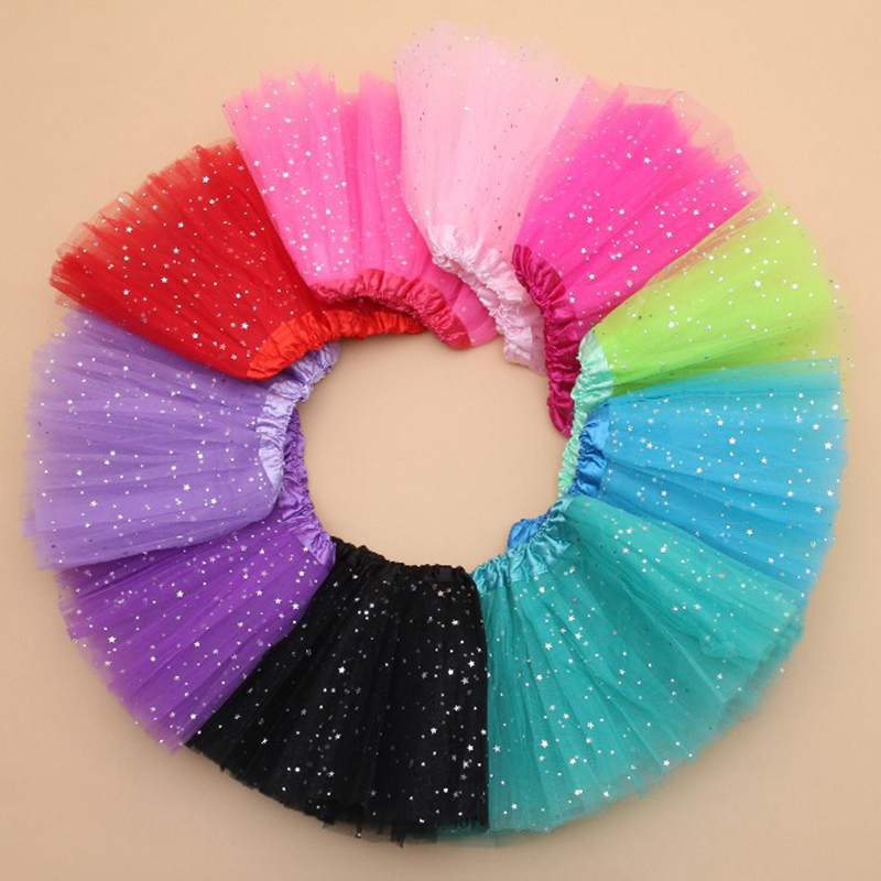 AZULARILLOJO Kids Baby Star Glitter Dance Tutu Skirt For Girl Sequin 3 Layers Tulle Toddler Pettiskirt Children Chiffon 2-8T