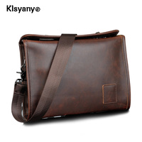 Klsyanyo Men S PU Crazy Horse Leather Twin Buckle Briefcase Tablet Bag Office Messenger Satchel Shoulder