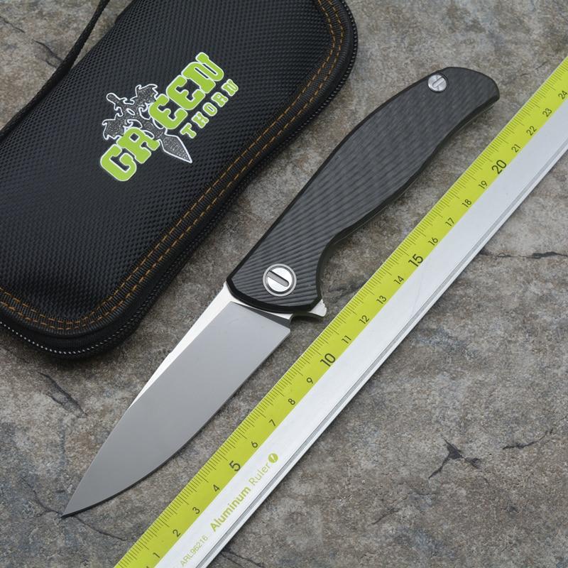 Green thorn 95 HATI Flipper folding knife M390 steel bearing titanium + CF 3D handle camping hunting outdoor EDC tools