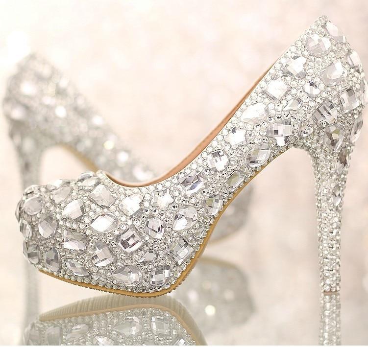 39 À Size34 2018 Argent Cristaux Talons Rond forme Mariée Danse Plate Chaussures Luxe Bout De Mariage Hauts Femmes Avec 1nxwTCnU