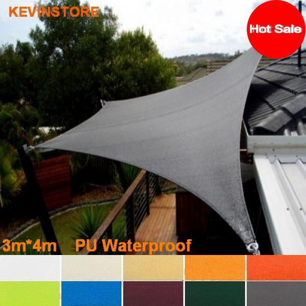 3m x 4m 160GSM waterproof sun shade sail outdoor awning awned quality sun-shading fabric & 3m x 4m 160GSM waterproof sun shade sail outdoor awning awned ...