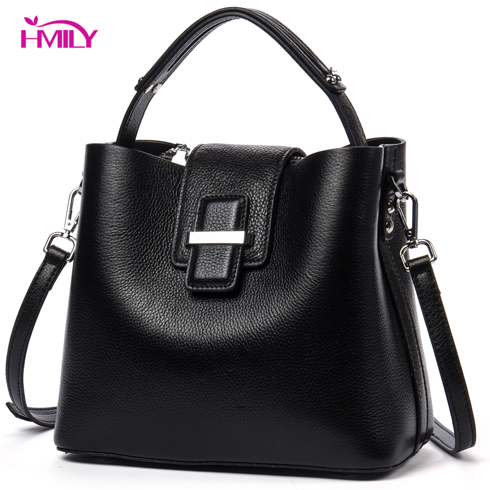 HMILY Women Handbag Genuine Leather Ladies Messenger Bag Natural Leather Women Shoulder Bag Bucket Candy Color Women Bag hmily women handbag genuine leather ladies messenger bag women bag natural cowhide daily shoulder bag socialite