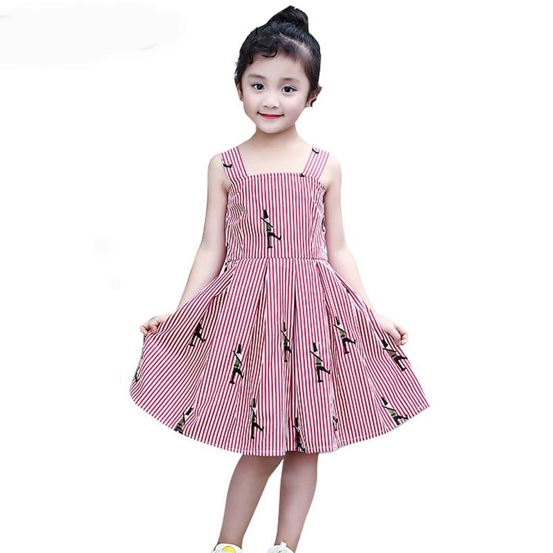 цена на Kids Dresses for Girls Sundress Sleeveless Striped Girls Dresses Cotton Children Princess Dress for Party and Wedding Vestidos