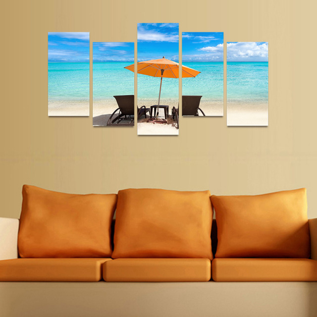 5 Panels Canvas Print Chairs And Umbrella Face Ocean Painting Wall ...