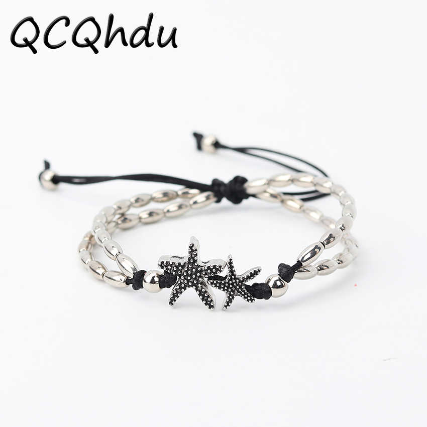 1PC New Fashion Retro Bohemia Rune Starfish Anklet Beach Feet Jewelry Simple Pull Beads Anklet Bracelet for Women