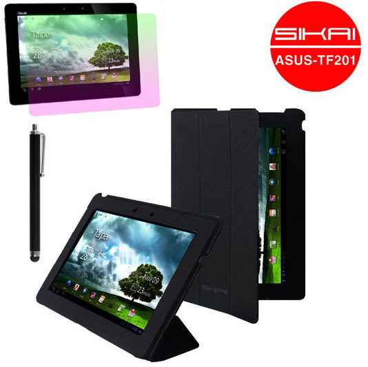 3in1 Set For for ASUS Eee Pad Transformer Prime TF201 Sikai Ultra-thin Microfiber Stand case  Black + LCD Screen Protector + Pen