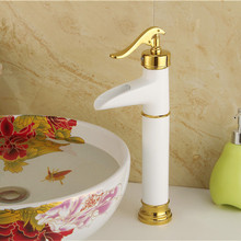 Free shipping Baked white paint bathroom basin mixer tap with oil bronze full copper bathroom basin sink faucet