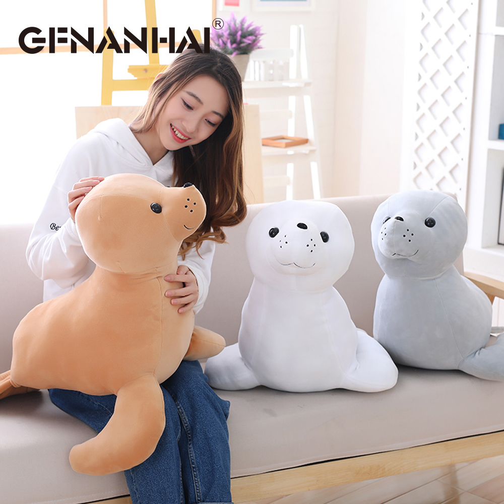 1pc 60cm kawaii sea lion plush pillow Sea World Animal Sea Lion Doll Seal Plush Toy baby sleeping cushion stuffed toys gift
