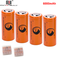 4pcs rechargeable battery 26650 3.7v/4.2v 6000mah li ion batteria for led flashlight 26650 lithium battery Headlamps TRACKING