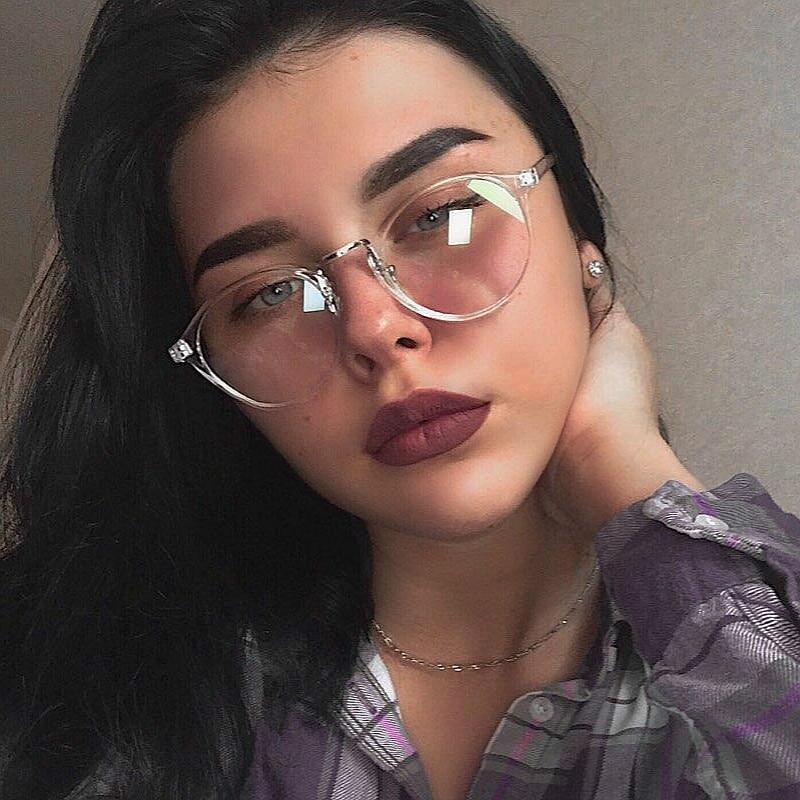 2019 Eyeglasses Frame Women Transparent Round Glasses Clear Frame Spectacle Myopia Glasses Men Frame Nerd Optical Frames Black