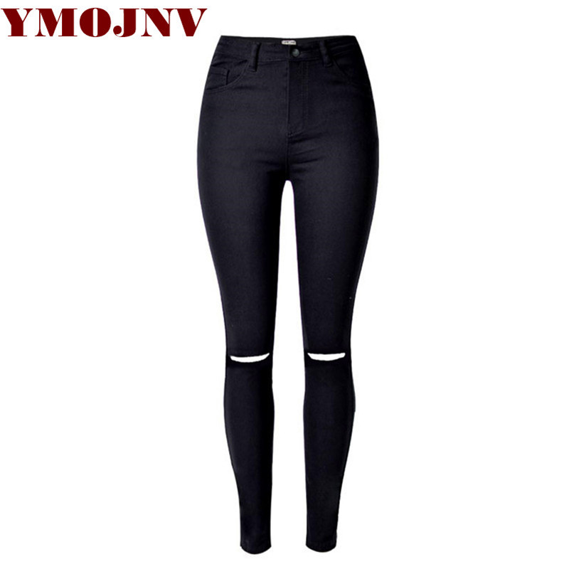 Plus size women pants 2016 new European and American popular street in black and white waist Slim stretch knee hole jeans