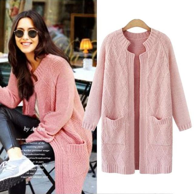 Pink Cardigans Women Large Size Sweater Coat 2017 Autumn Knitted ...