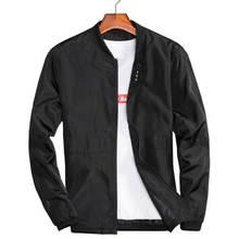Большой размеры 4XL 5XL мужские сезон  весна-лето куртки повседневное тонкий  мужской ветровки колледж курточка бомбер черный вет. cd8acd2a4bb77