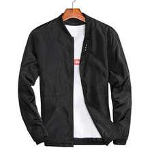 981908a50 Gran tamaño 4XL 5XL hombre primavera chaquetas de verano Casual delgado  hombre cazadoras College tipo Negro