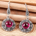 National trend black red agate silver earrings royal vintage bohemia earring drop earring female jewelry