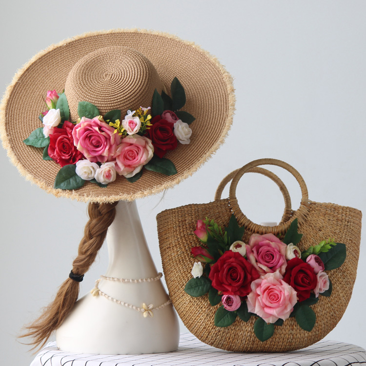 Original handmade straw bag rose hat travel vacation simulation Flower handbag women s bag Set