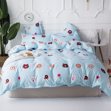 Cartoon bear and rabbit Kids Bedding Sets Twin Queen Size flower Duvet Cover Set blue bed Sheet 4PCS set with pillowcase