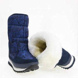 Image 5 - Xanh Dương Giày Đậm Màu Sắc Giày Nữ Mùa Đông Ấm Đế Trong Tuyết Khởi Động Kích Thước Lớn Ưa Nhìn Vải Trên Cao Su Và EVA đế Ngoài Không Trơn Trượt