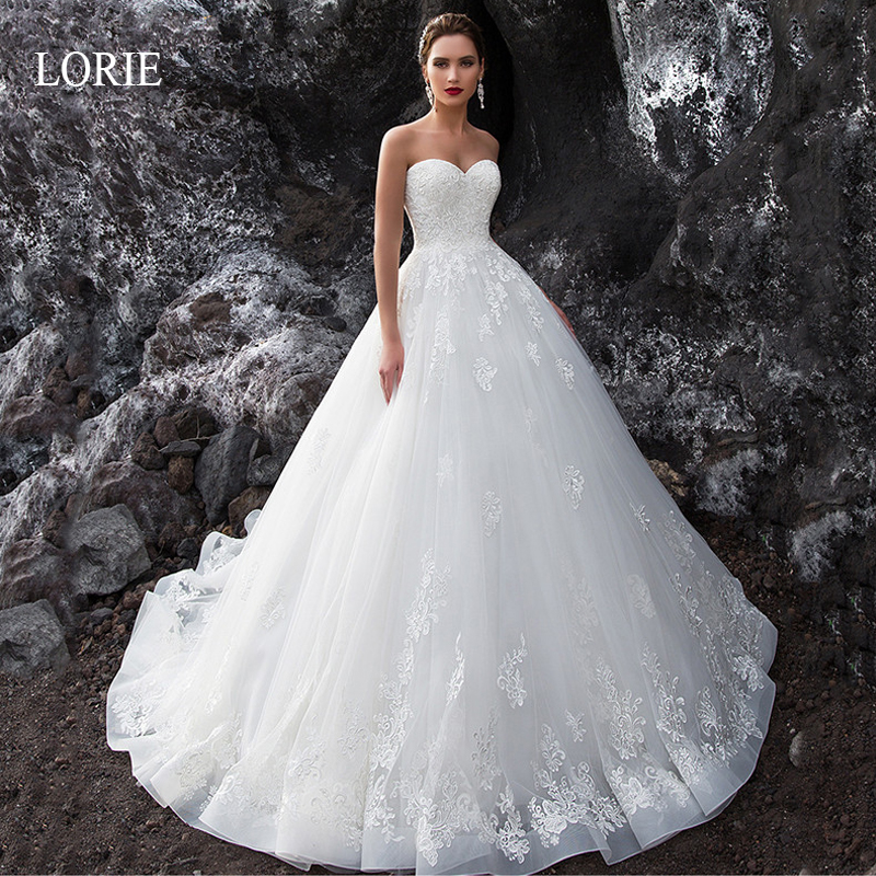 LORIE Sleeveless Lace up Wedding Dress High quality Lace Appliques with Tulle Ball Gown Bride Dresses Backless vestido de noiva in Wedding Dresses from Weddings Events