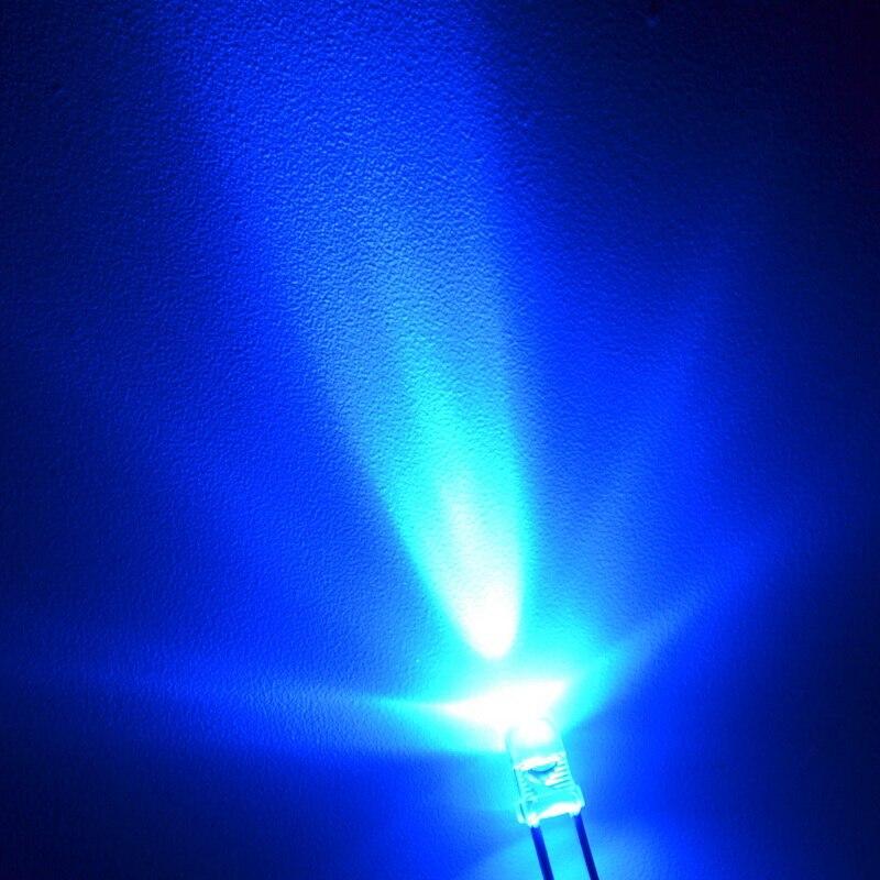 1000pcs UV Purple 3mm Round Diode 3.1~3.4V 460~465NM 20MA Led water clear Super Bright Light Bulb Led Light-emitting diodes Lamp