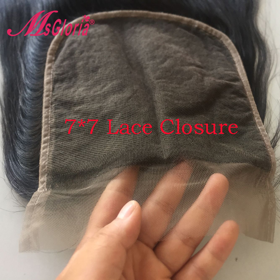 7 7 Human Hair Lace Closure With Baby Hair 100 Virgin Straight Hair Pre Plucked Hairline