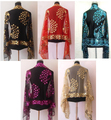 Holesale y de la venta mujeres de moda seda poliester lentejuela bordar mantón de pavo real de la bufanda urdimbre envío SY0011