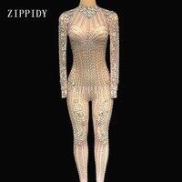 Блестящие Серебряные Кристаллы комбинезон сетка сексуальное Стразы перспектива боди супер Дизайн вечер праздновать видеть сквозь костюм