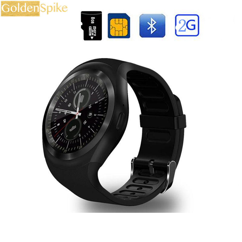 Bluetooth Smartwatch Y01 Smart Watch Support Reloj Relogios 2G GSM SIM App Sync Mp3 For Apple iPhone Xiaomi Android Phones Black meanit m5