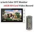 Home use 9 inch Color TFT Monitor 16GB SD Card Video Record Door Phone IR 700TVL Cam DoorBell Intercom System