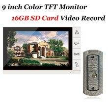 Для домашнего использования 9 дюймов Цветной TFT Монитор 16 ГБ SD Card Запись Видео-Телефон Двери ИК 700TVL Cam Дверной Звонок система