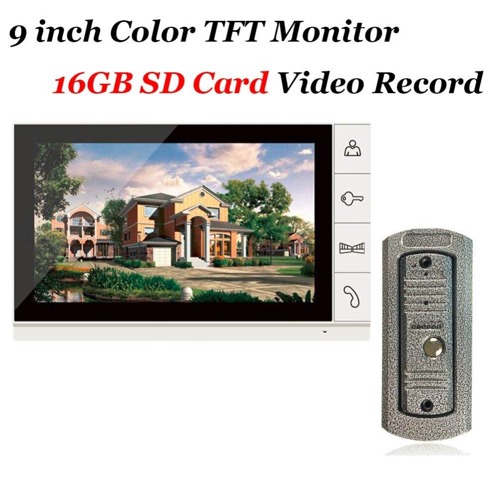 imágenes para Uso en el hogar 9 pulgadas Color Tft 16 GB Tarjeta SD de Grabación de Video Teléfono de La Puerta IR 700TVL Cámara del Intercomunicador del Timbre sistema