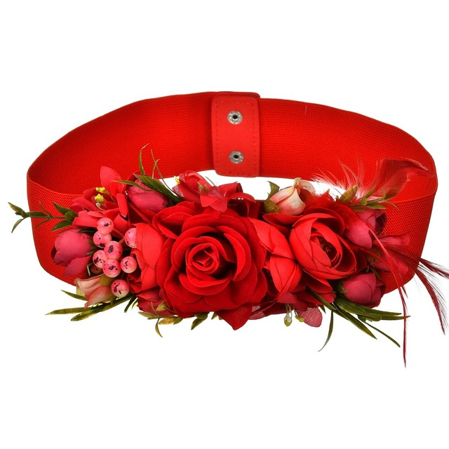 2018 Red Flower Elastic Waist Belt For Women Fashion Beach Floral Forest Dress Belts Strap Girls Ladies Fabric Waistband Belts