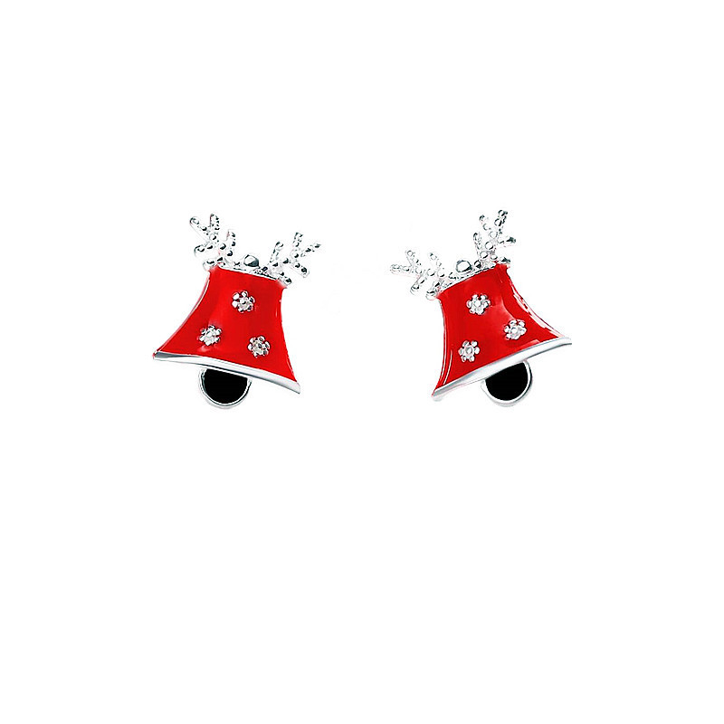 925 sterling sliver Christmas stud earrings Korean fashion Snow Bell small sliver earrings womens jewellery order tracking image