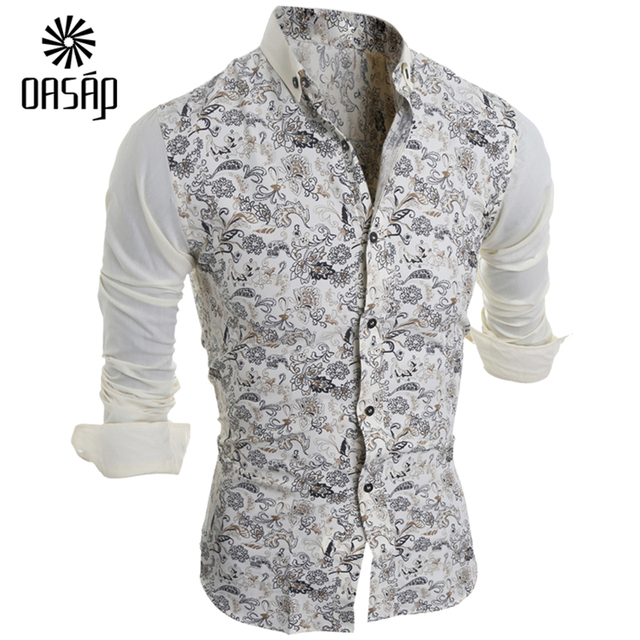 bdb73309536 OASAP 2016 Men s Floral Print Long Sleeve Button Down Shirt Long Sleeve  Slim Fit French Cuff Male Social Dress Shirt-97654