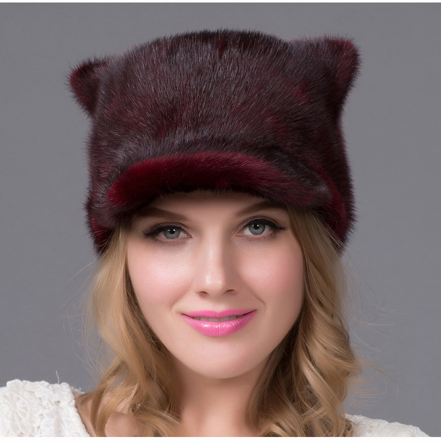 New explosion hot autumn and winter women's fur hat female models real mink fur hat women's cap natural fur hat quality DHY-61