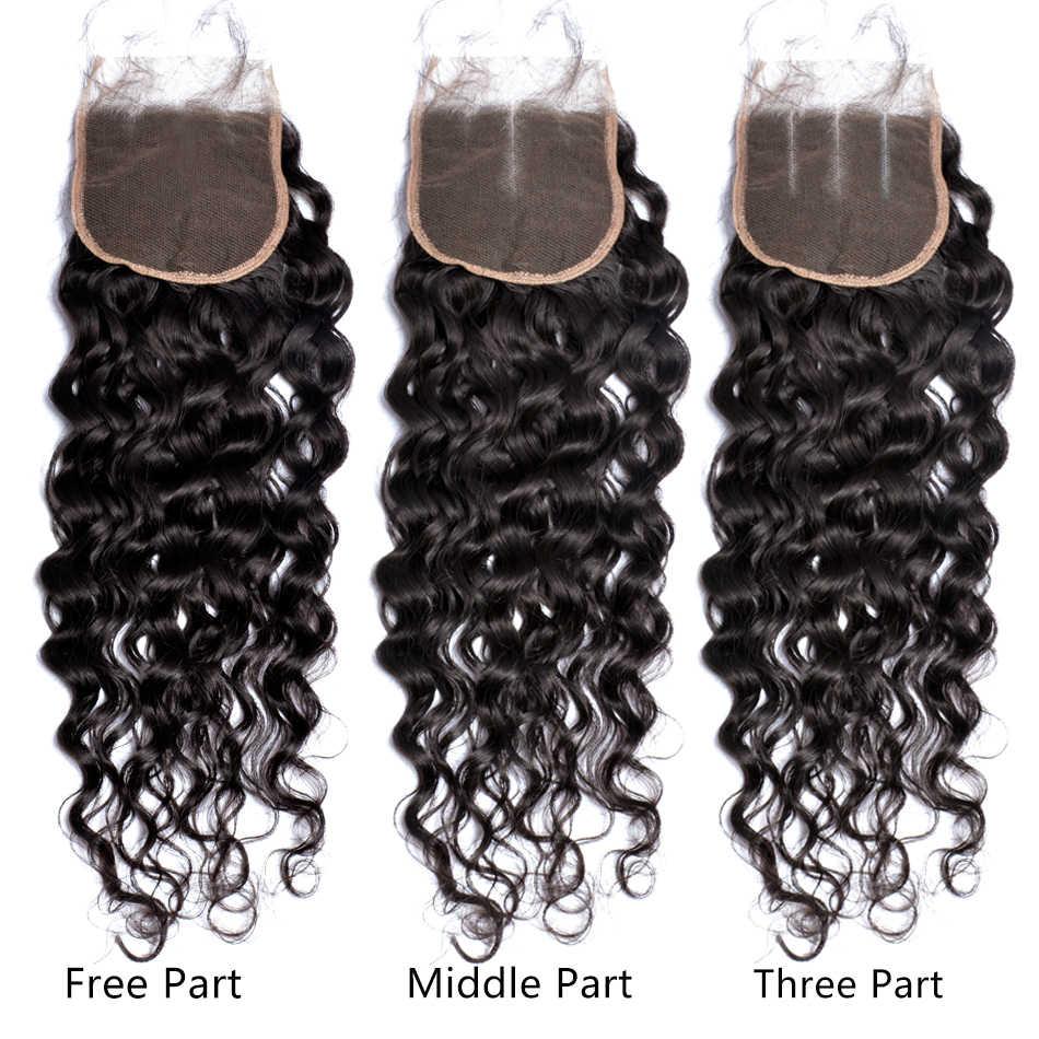 """Перуанская волна Кружева Закрытие с волосами младенца 100% человеческих волос Средний/Свободный/три части 4 """"x 4"""" закрытие драгоценный камень красоты remy волос # 1B"""