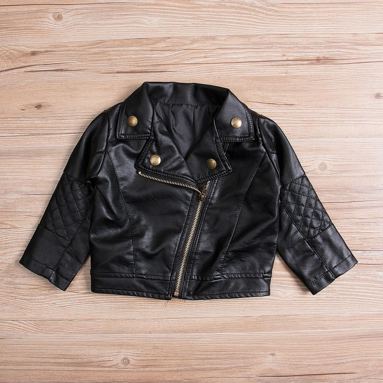 Hot Toddler Kids Girl Fashion Motorcycle Pu Leather Jacket Biker Cool Adorable Coat Black Overcoat Jackets & Coats Mother & Kids