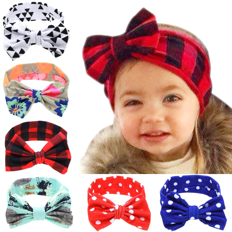 цена на Baby Infant Flower Bow Hairband Turban Knot Rabbit Headband Kids Girl Child Headwraps Toddler Hair Band Accessories 1pc HB520