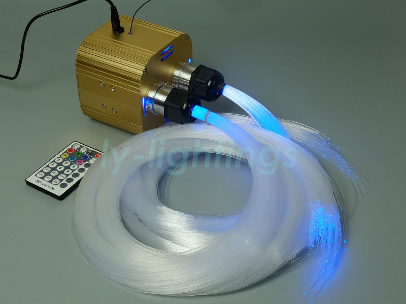 Twinkle stars fiber optic lights led light engine+ 600pcsx3m PMMA optical fibers wireless remote RGBW color ceiling lamp decoration optical fiber light kit led light engine cables tailpieces fibre optic color change twinkle effect diy stars