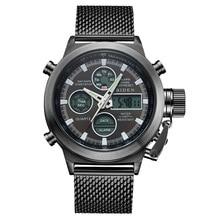 Топ бренд мужские s кварцевые часы Лакшери повседневные часы мужские из нержавеющей стали сетчатый ремешок двойной дисплей спортивные часы Relogio Masculino