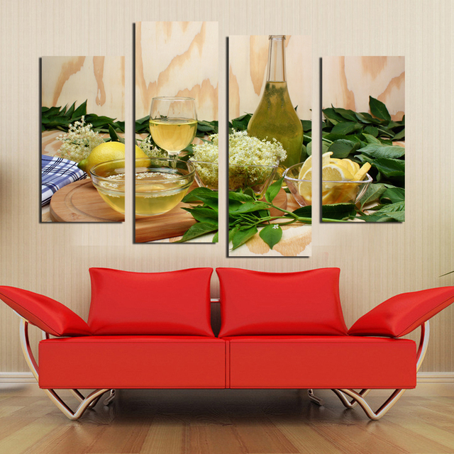 unframed obst lemon saft gr n blumen leinwand malerei. Black Bedroom Furniture Sets. Home Design Ideas