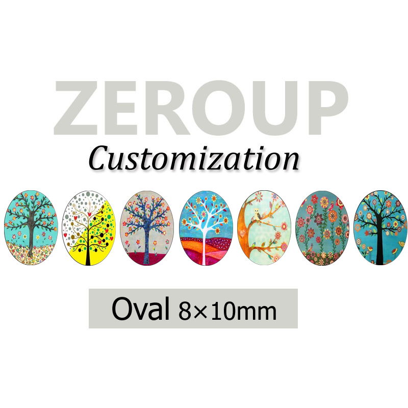 ZEROUP Professional customized services 8x10mm oval pictures glass cabochon mixed patterns jewelry components 374pcs/lot